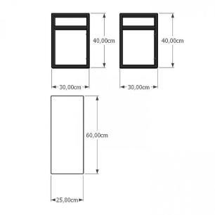 Mesa lateral sofá industrial aço cor preto prateleiras 30 cm cor branca modelo ind03bml