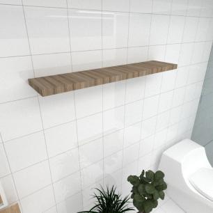 Prateleira para banheiro MDF suporte Inivisivel cor amadeirado escuro 90(C)x20(P)cm mod pratbname25