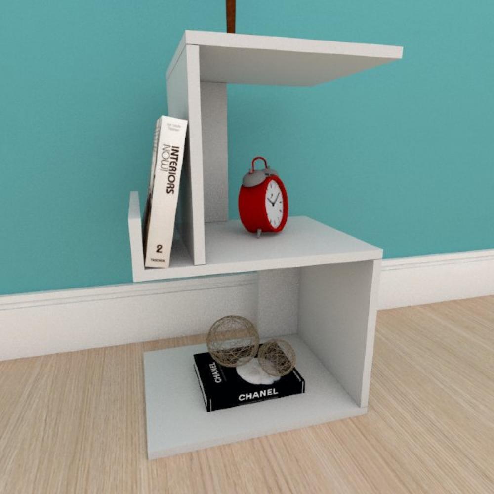 Mesa de cabeceira com suporte para livros em mdf cinza