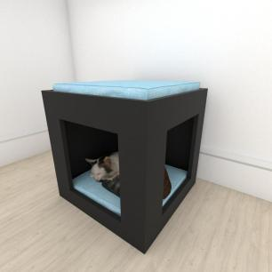 Mesa de cabeceira bercinho para Gato em mdf Preto