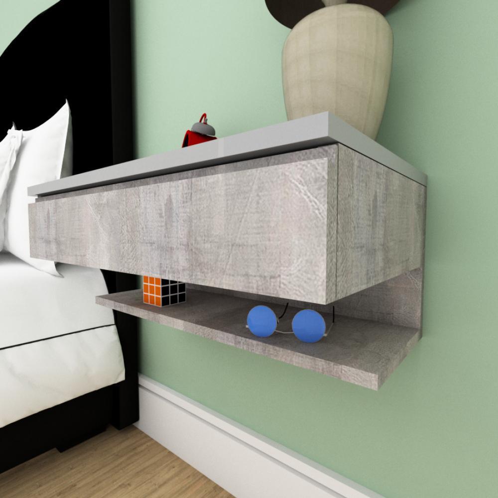 Mesa de cabeceira moderna rustico com cinza