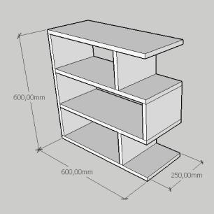 Estante de Livros compacta tripla em mdf amadeirado