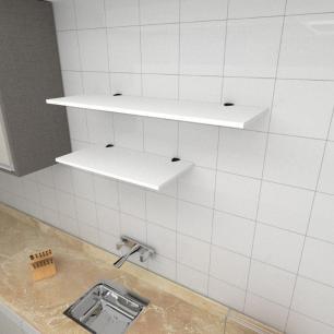 Kit 2 prateleiras cozinha em MDF suporte tucano branco 1 60x30cm 1 90x30cm modelo pratcb14