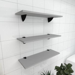 Kit 3 prateleiras para banheiro em MDF suporte tucano cinza 60x20cm modelo pratbnc12