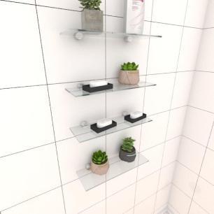 Kit com quatro Prateleira para banheiro 30 cm vidro temperado