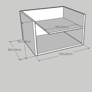 Mesa de centro com prateleiras em mdf branco