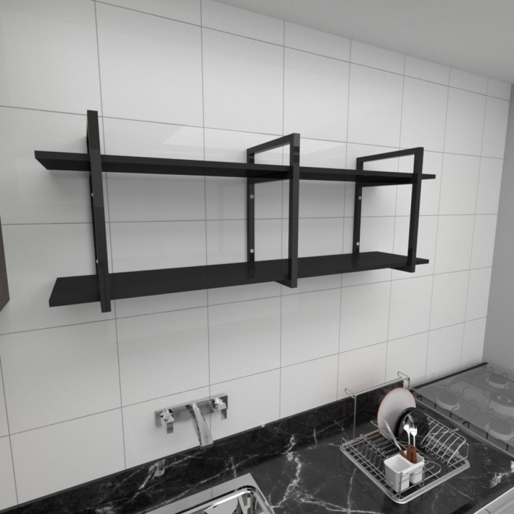 Prateleira industrial para cozinha aço cor preto prateleiras 30cm cor preto modelo ind05pc