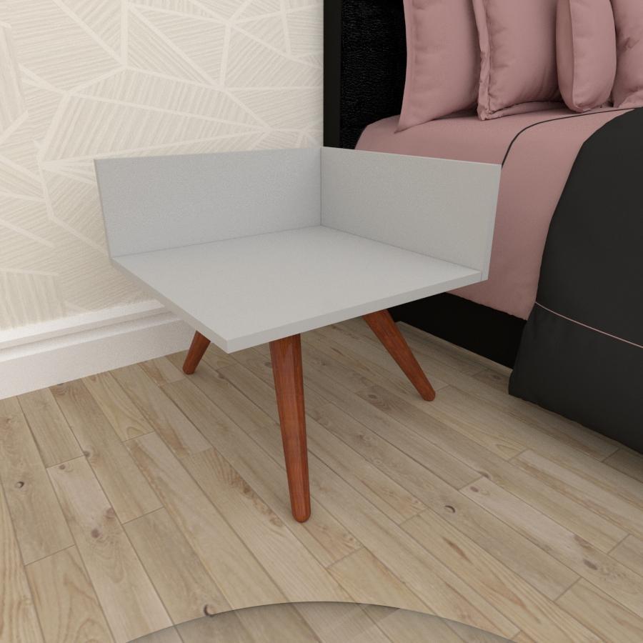 Mesa de Cabeceira simples em mdf cinza com 3 pés inclinados em madeira maciça cor mogno