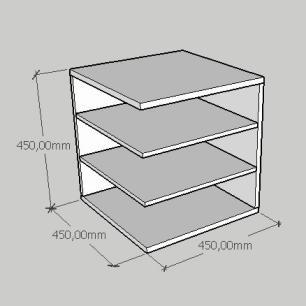 Kit com 2 Mesa de cabeceira simples com prateleiras em mdf cinza
