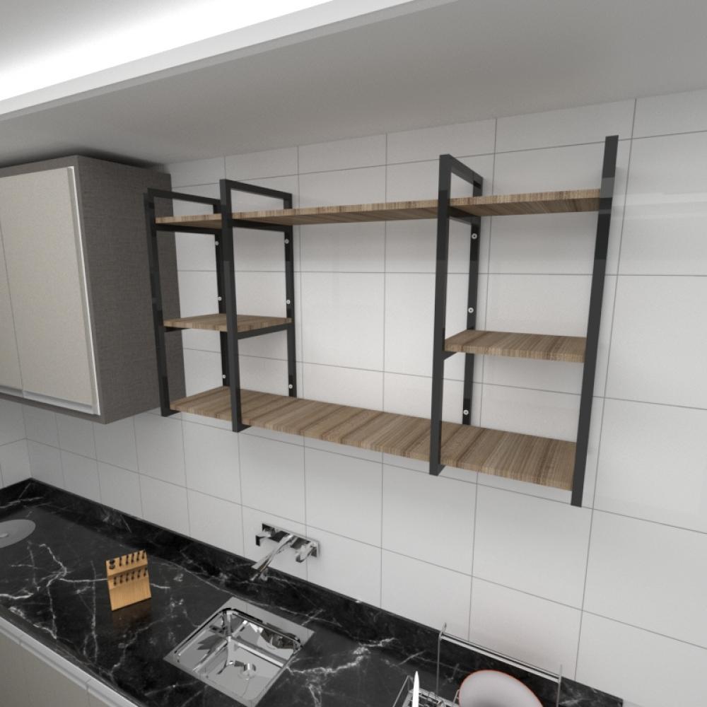 Prateleira industrial cozinha aço cor preto prateleiras 30cm cor amadeirado escuro mod ind17aec