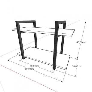 Mini estante industrial para sala aço cor preto mdf 30cm cor amadeirado escuro modelo ind02aeeps