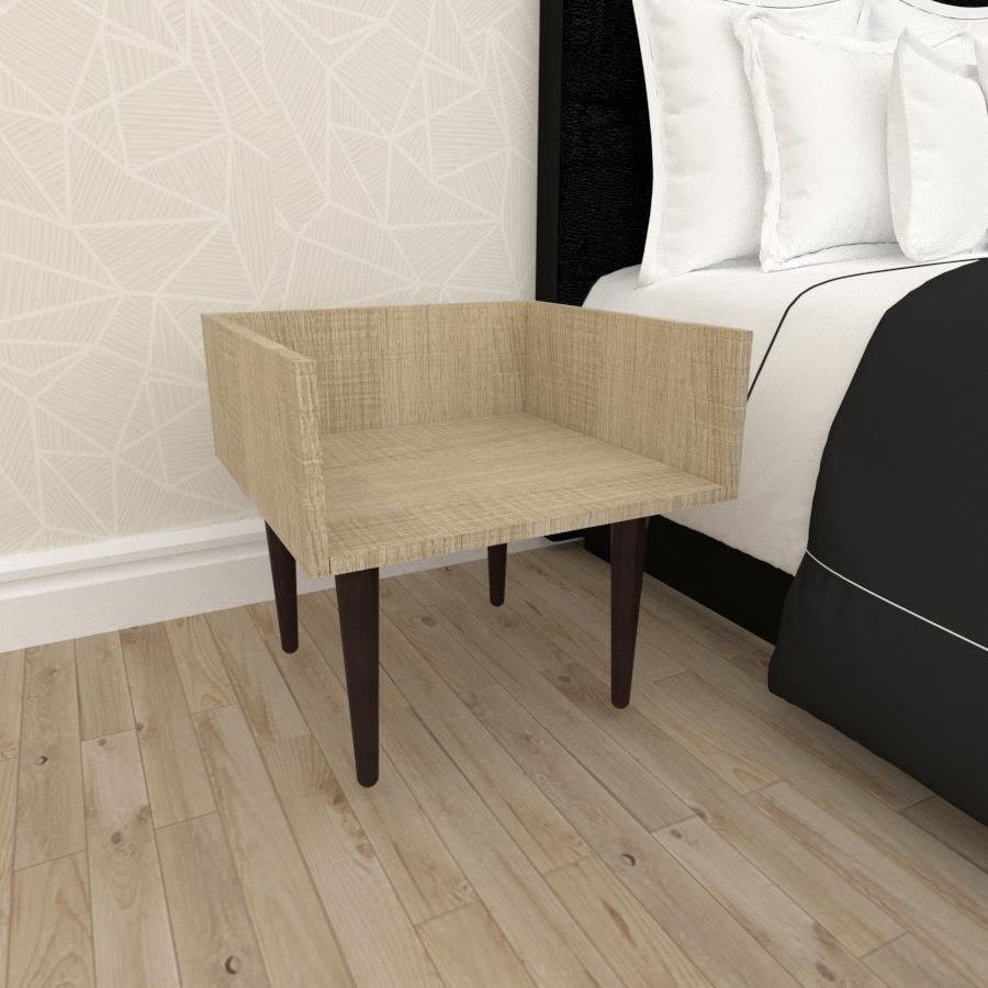 Mesa de Cabeceira minimalista em mdf amadeirado claro com 4 pés retos em madeira maciça cor tabaco