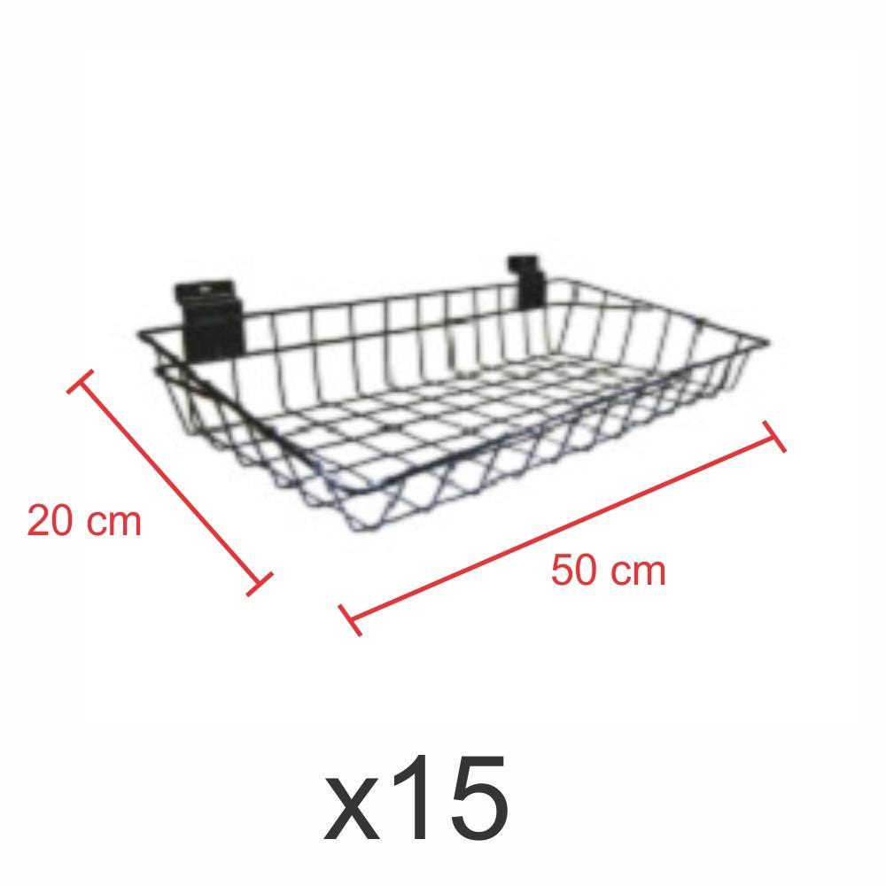 kit para expositor com 15 Cestos para painel canaletado 20x50 cm preto