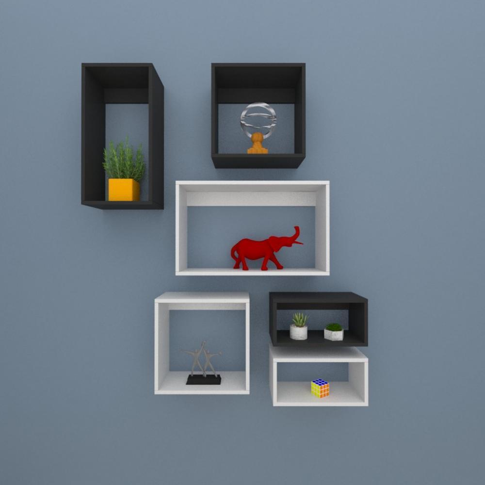 Kit de Nichos multi uso, mdf cinza com preto