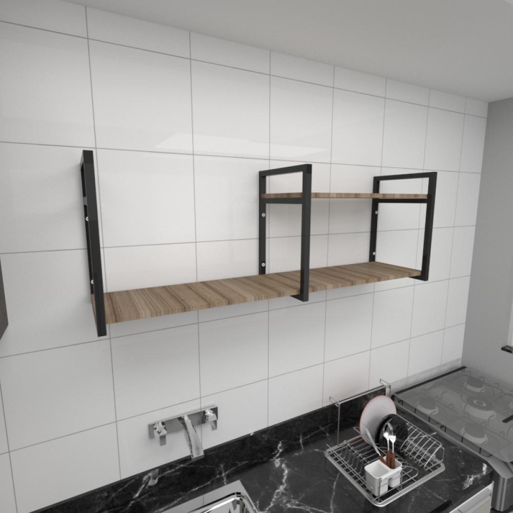 Prateleira industrial cozinha aço cor preto prateleiras 30cm cor amadeirado escuro mod ind07aec
