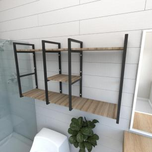 Prateleira industrial banheiro aço cor preto prateleiras 30cm cor amadeirado escuro mod ind18aeb