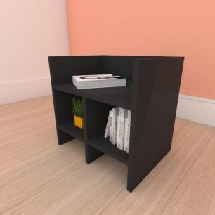 Mesa de cabeceira slim em mdf preto
