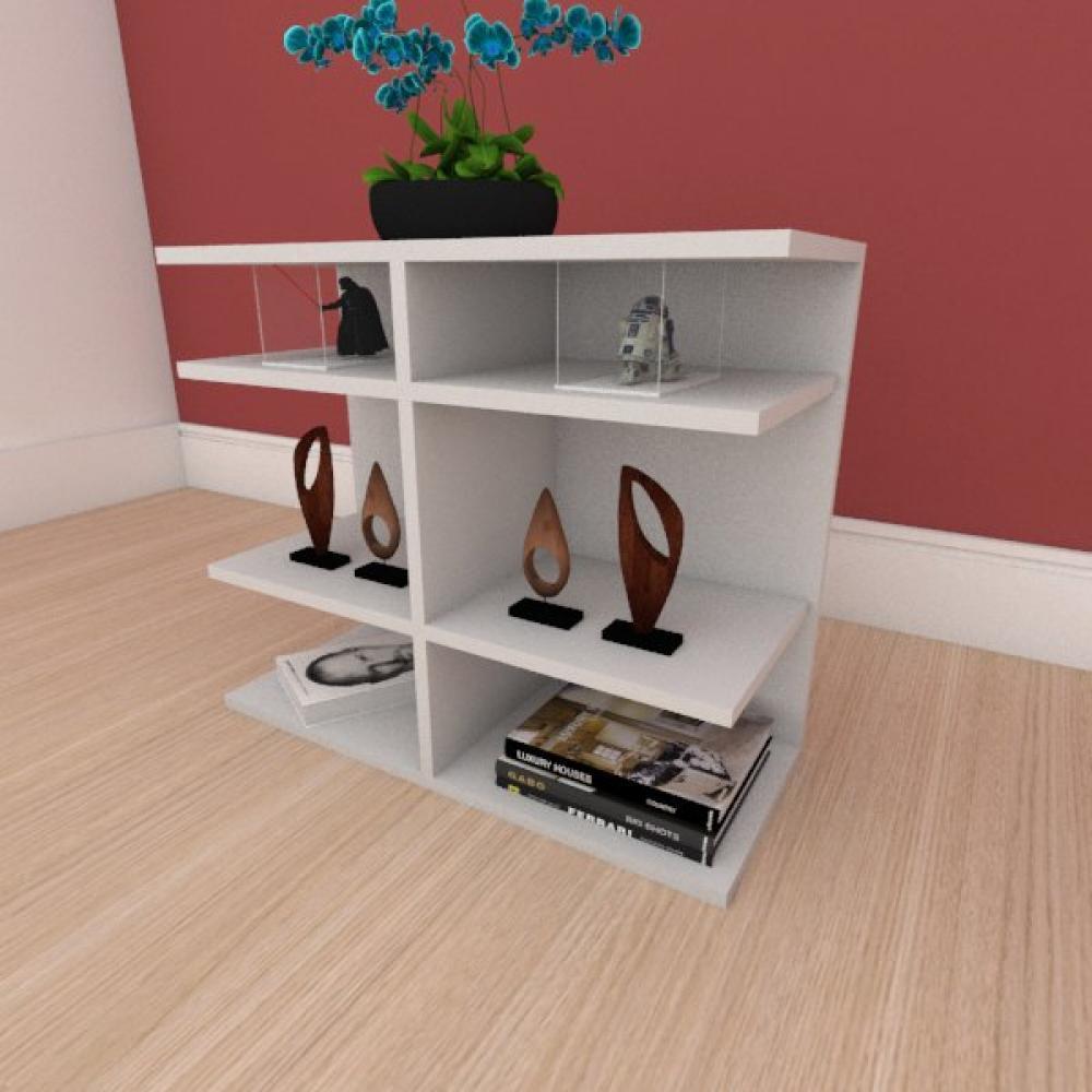 Kit com 2 Mesa de cabeceira minimalista com divisor em mdf cinza