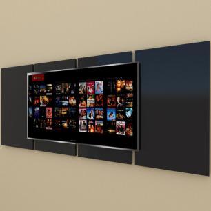 Painel Tv pequeno moderno preto com amadeirado claro