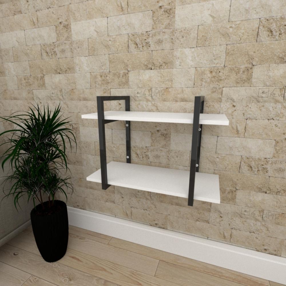 Mini estante industrial para escritório aço cor preto prateleiras 30 cm cor branca modelo ind02bep