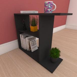 Mesa de cabeceira compacta em mdf preto