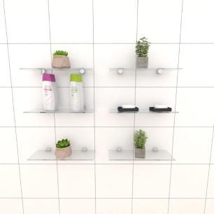 Kit com seis Prateleira para banheiro 30 cm vidro temperado