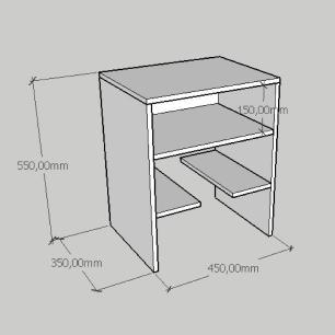 Kit com 2 Mesa de cabeceira com prateleiras em mdf cinza