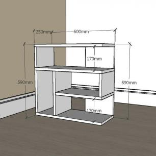 Mesa Lateral para sofá moderna com nicho em mdf Amadeirado