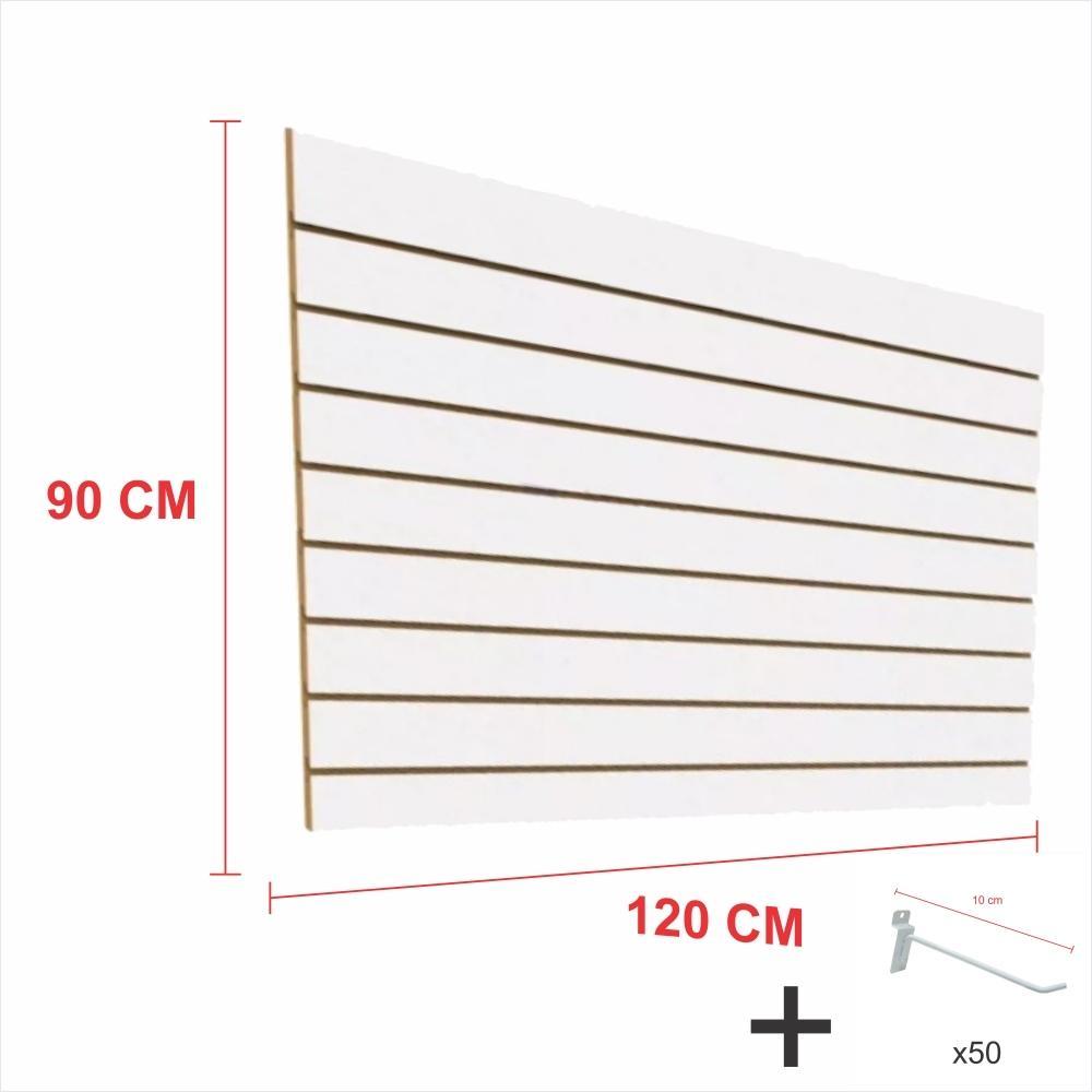 Kit Painel canaletado branco alt 90 cm comp 120 cm mais 50 ganchos 10 cm