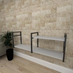 Mini estante industrial para escritório aço cor preto prateleiras 30cm cor cinza modelo ind07cep