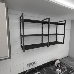 Prateleira industrial para cozinha aço cor preto prateleiras 30cm cor preto modelo ind11pc
