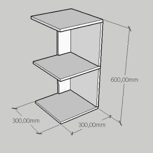 Mesa Lateral simples com prateleira em mdf cinza