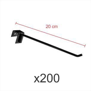 Kit com 200 ganchos 4mm preto de 20 cm para gondola, para porta gancheira 20x20 e 20x40