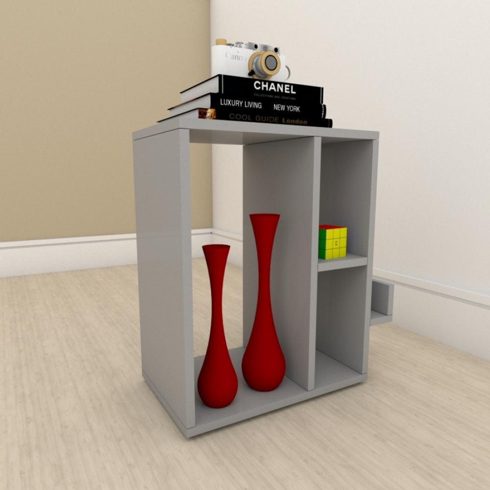 Estante para livros moderna com 3 niveis em mdf Cinza