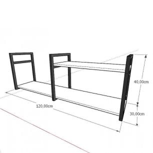 Prateleira industrial para escritório aço cor preto prateleiras 30 cm cor branca modelo ind07bes