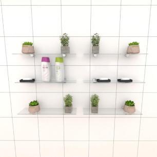 Kit com seis Prateleira para banheiro 40 cm vidro temperado