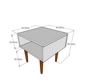 Mesa lateral em mdf cinza com 4 pés retos em madeira maciça cor mogno