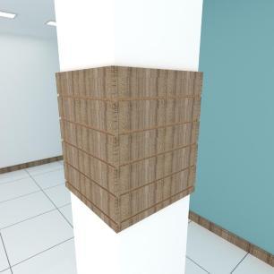 Kit 4 Painel canaletado para pilar amadeirado escuro 2 peças 54(L)x60(A)cm + 2 peças 50(L)x60(A)cm
