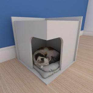 Mesa de cabeceira caminha slim pequeno gato em mdf cinza