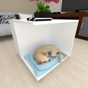 Casinha caminha cachorro cão com rodinhas mdf Branco