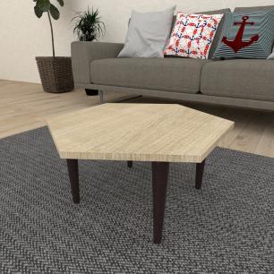 Mesa de Centro hexagonal em mdf amadeirado claro com 4 pés retos em madeira maciça cor tabaco