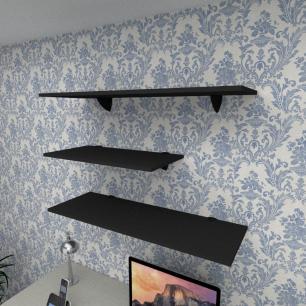 Kit 3 prateleiras escritório em MDF suporte tucano preto 1 60x30cm 2 90x30cm modelo pratesp13