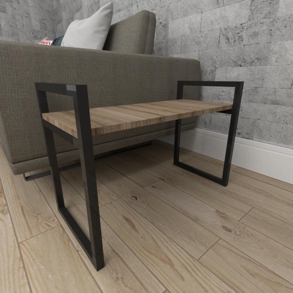 Mesa lateral sofá industrial aço cor preto mdf 30 cm cor amadeirado escuro modelo ind03aeml