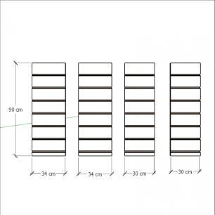 Kit 4 Painel canaletado para pilar branco 2 peças 34(L)x90(A)cm + 2 peças 30(L)x90(A)cm