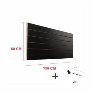 Kit Painel canaletado preto alt 60 cm comp 120 cm mais 30 ganchos 10 cm