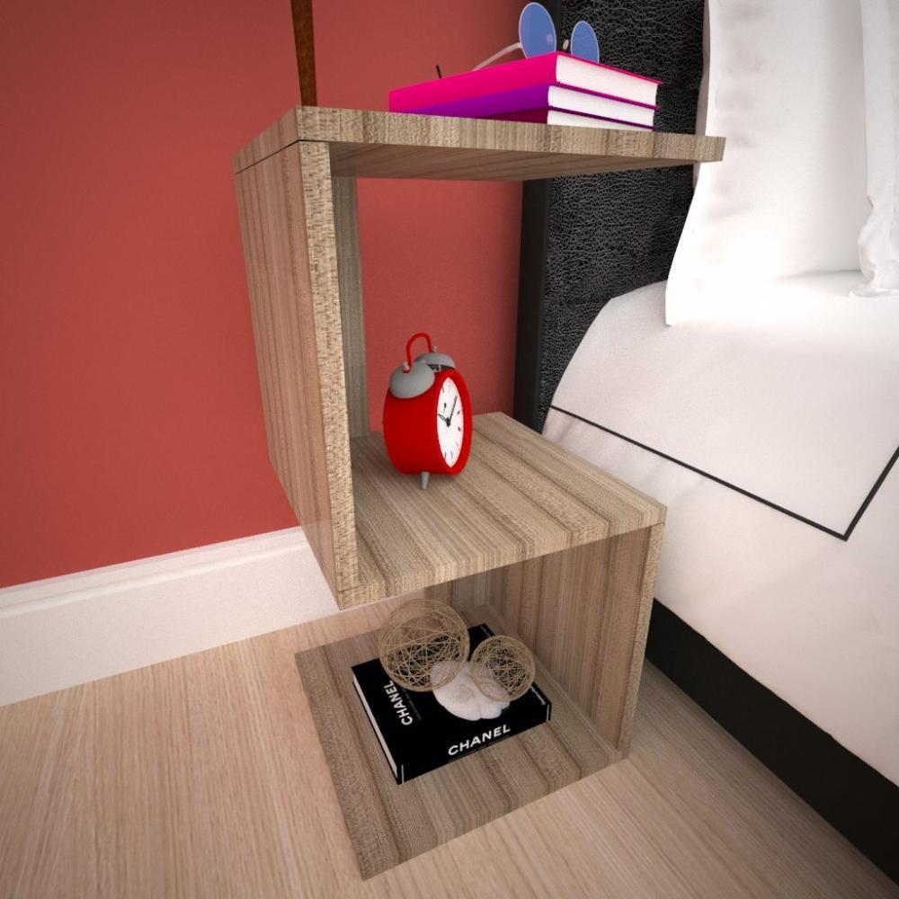 Mini estante para escritório moderna em mdf Amadeirado escuro