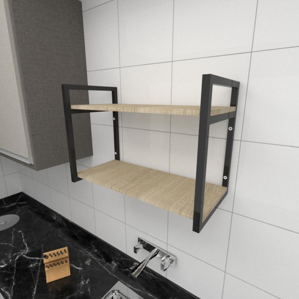 Prateleira industrial para cozinha aço cor preto prateleiras 30cm cor amadeirado claro mod ind01acc