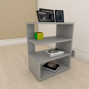 kit com 2 Mesa de cabeceira minimalista com nicho em mdf Cinza