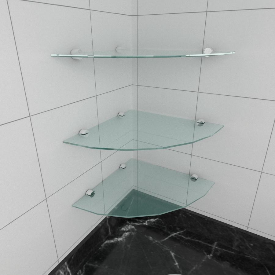 kit com 3 Prateleira para canto de vidro temperado para cozinha profundidade 30 cm
