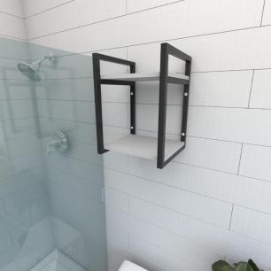Prateleira industrial para banheiro aço cor preto prateleiras 30cm cor cinza modelo ind24cb